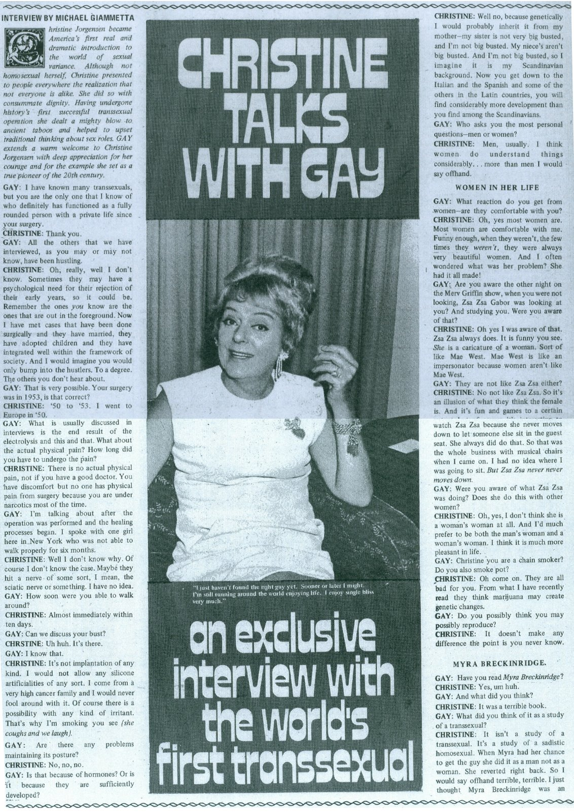 christine jorgensen gay magazine interview